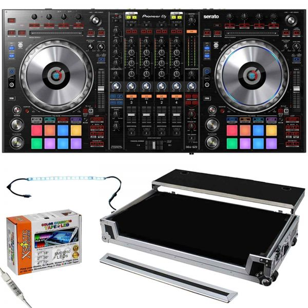 Pioneer DDJ-SZ2 Flagship 4-Channel Mixer & Serato DJ Controller with LED Kit & Silver Odyssey ATA Ca