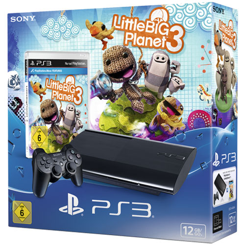 Sony Playstation 3 Konsole 12GB Bundle inkl. Little Big Planet 3, Super Slim, schwarz