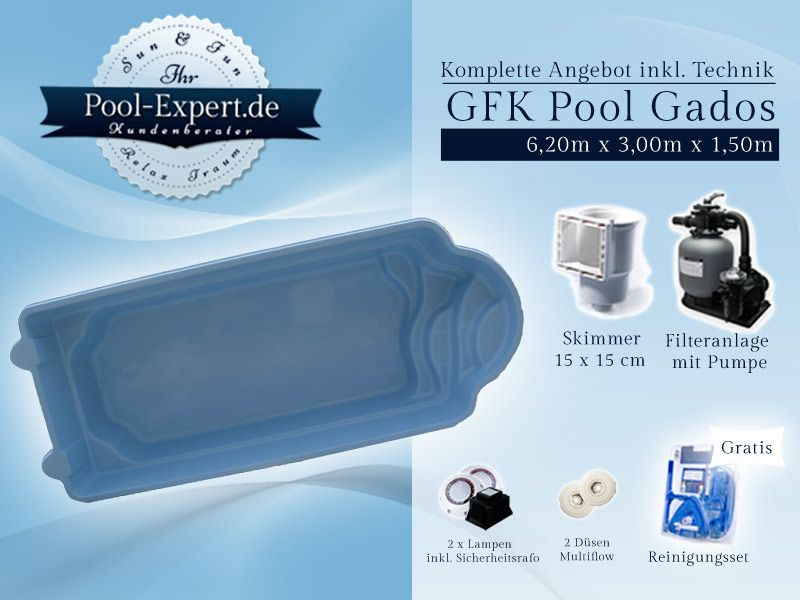 GFK Schwimmbecken Swimming Pool Fertigpool Fertigbecken 6,20 x 3m
